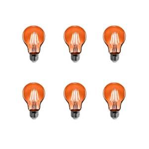 25-Watt Equivalent A19 Medium E26 Base Dimmable Filament Orange Colored LED Clear Glass Light Bulb (6-Pack)