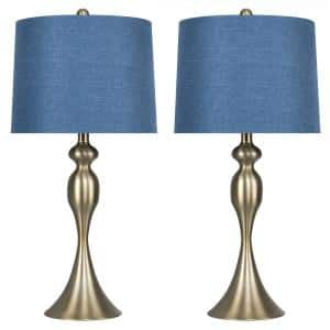 27 in. Curvy Gold Plated Table Lamp with Moroccan Blue Textured Slub Linen Shade (2-Pack)