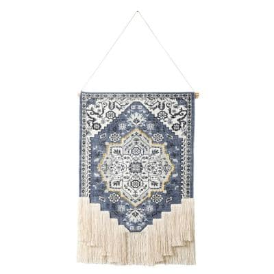 19.5 in. x 35 in. Blue/White Boho Floral Woven Macrame Fringe Wall Hanging