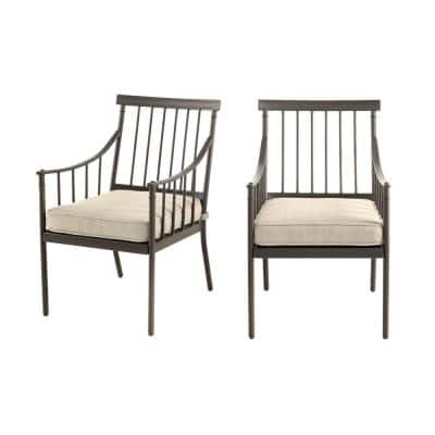 Mix and Match Farmhouse Steel Outdoor Patio Dining Chair with Tan Cushion (2-Pack)