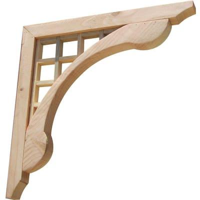 Grid Lattice 16 in. x 1.6 in. x 16 in. Designer Wood Corbel (2-Pack)