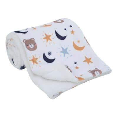 Goodnight Sleep Tight White Bear, Moon and Star Polyester Super Soft Baby Blanket
