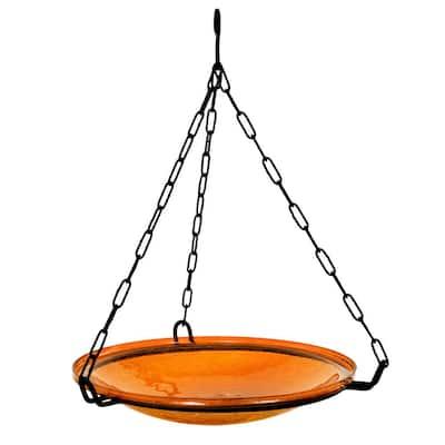 14 in. Dia Mandarin Orange Reflective Crackle Glass Hanging Birdbath Bowl