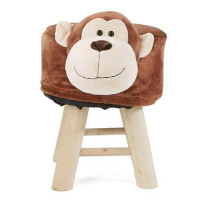 Brown Children's Favorite Monkey Animal Stool, Chair, Ottoman, Foot Rest with Padded Seat Cushion