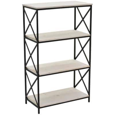 39.25 in. Metal/Wood Book Shelf in White