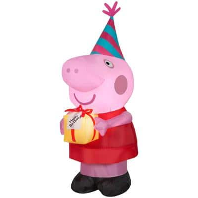 3.5 ft. Tall Airblown Peppa Pig with Birthday Cake