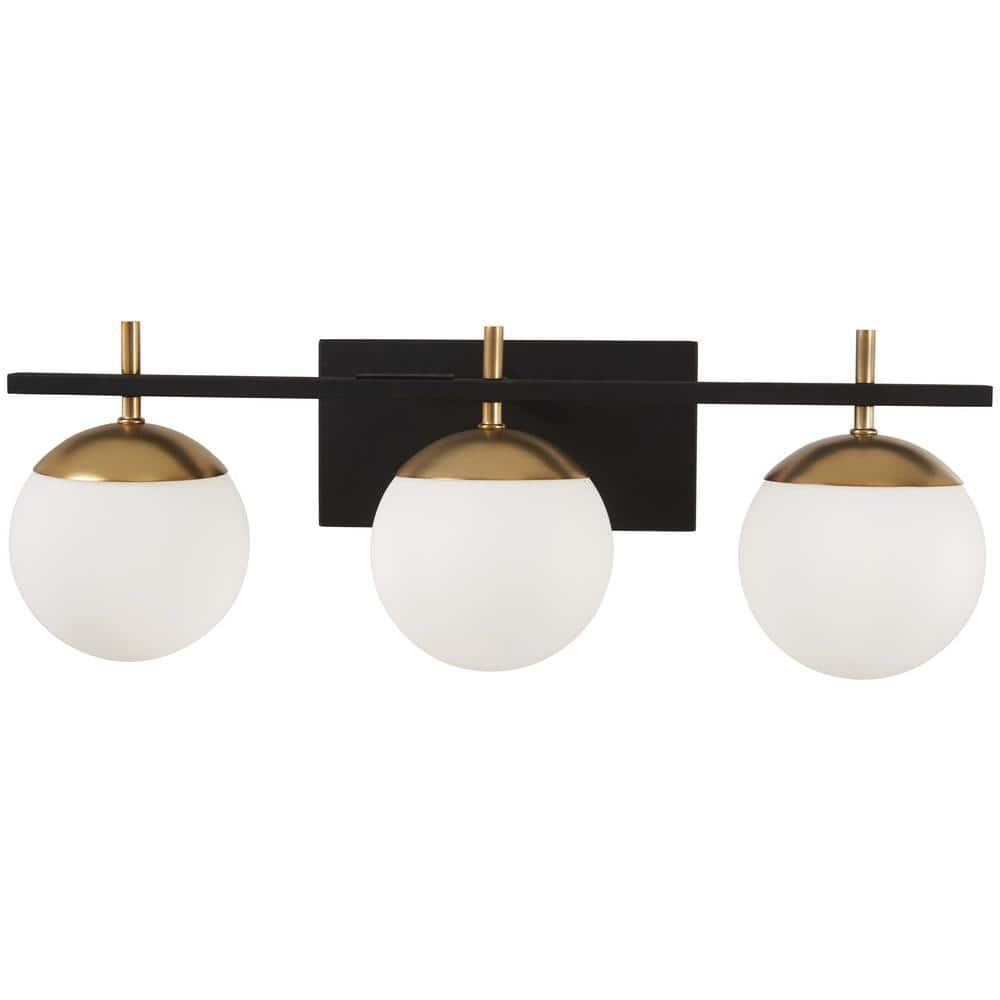 George Kovacs Alluria 3 Light Weathered Black With Autumn Gold Accents Bath Light P1353 618 The Home Depot