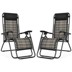 Mix Brown Metal Folding and Reclining Zero Gravity Lawn Chair with Removable Headrest