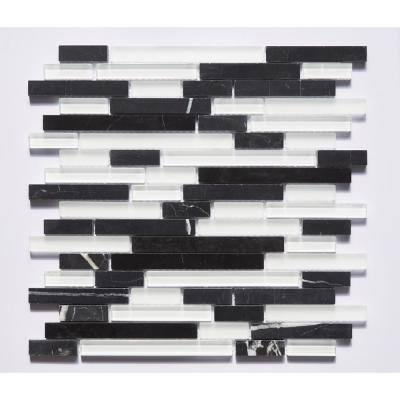Premium Vanilla Bean Linear Mosaic 12 in. x 12 in. Glass and Stone Wall Tile (11 sq. ft.)