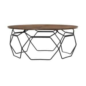 Cosmo Walnut Veneer Coffee Table with Black Metal Base