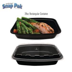 28 oz. Rectangular Plastic Food Storage / Meal Prep Containers with Lids. (50-Pack)