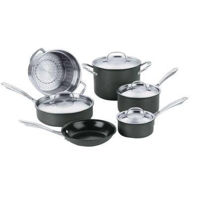 GreenGourmet 10-Piece Hard-Anodized Aluminum Ceramic Nonstick Cookware Set in Black