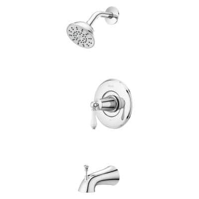 Courant Single-Handle 1-Spray Tub and Shower Faucet with White Ceramic Lever Handle in Polished Chrome (Valve Included)