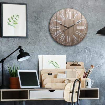 20 in. Rustic Light Natural Wood Plank Frameless Farmhouse Wall Clock