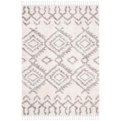 Berber Fringe Shag Cream/Gray 8 ft. x 10 ft. Geometric Tribal Diamond Area Rug