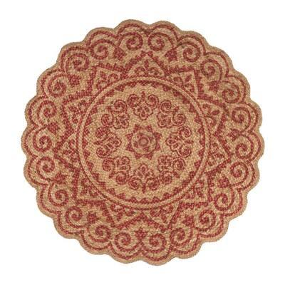 Synergy Tan/Raspberry Red 6 ft. Round Bohemian Chic Medallion Mandala Jute Area Rug