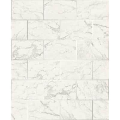 Mirren Off-White Marble Subway Tile Paper Peelable Roll (Covers 56.4 sq. ft.)