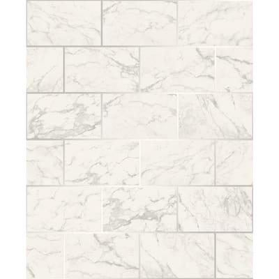 Mirren Off-White Marble Subway Tile Off-White Wallpaper Sample