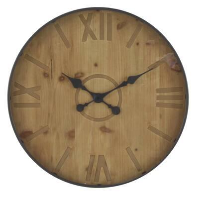 Rustic 32 in. Black Wall Clock