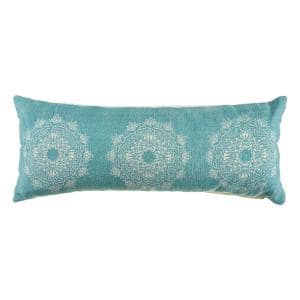 Ornate Teal / White 14 in. x 36 in. Tri Medallion Rectangle Cotton Standard Throw Pillow