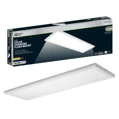48 in. x 15 in. Low Profile Matte White Color Selectable LED Flush Mount Ceiling Light w/Night Light Feature Dimmable