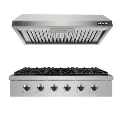 Entree Bundle 36in. Professional Style Liquid Propane Cooktop with 6 Burners and Range Hood in Stainless Steel and Black