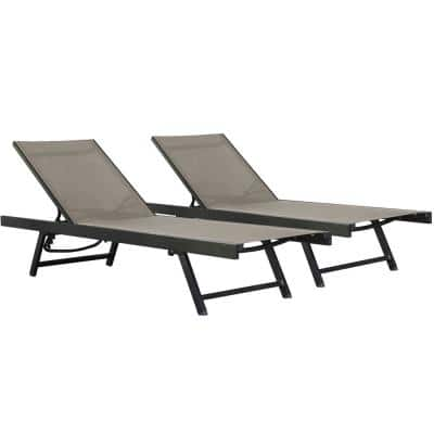 Urban Sun Lounger Cocoa 2-Piece Sling Outdoor Chaise Loungers
