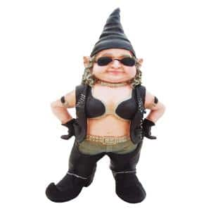 20 in. H ''Biker Babe'' the Biker Gnome in Leather Motorcycle Riding Gear Home and Garden Gnome Statue