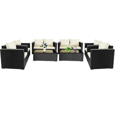 Costway Island 8-pc Wicker Patio Rattan Furniture Set Sofa Chair Coffee Table Off with White Cushions