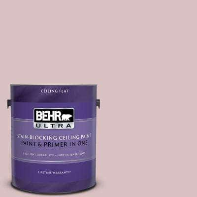 1 gal. #PPU17-08 Peony Blush Ceiling Flat Interior Paint and Primer in One