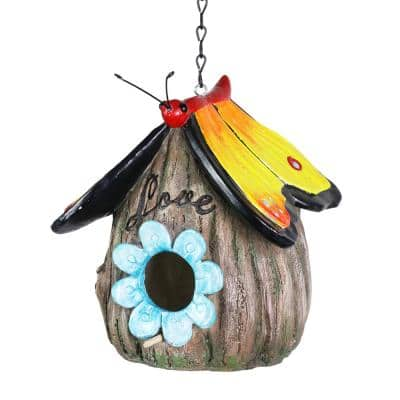 Butterfly Roof Love Acorn Hanging Resin Birdhouse