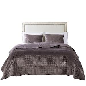 Riviera Velvet 2-Piece Gray Polyester Twin Quilt Set
