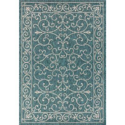 Charleston Vintage Filigree Textured Weave Indoor/Outdoor Teal/Gray 8 ft. x 10 ft. Area Rug