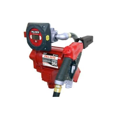 230-Volt 3/4 HP 35 GPM Fuel Transfer Pump with Discharge Hose, Automatic Nozzle and Digital Meter