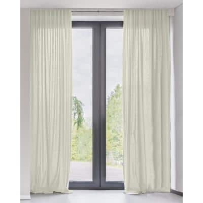 Adorn Cream Solid Rod Pocket Sheer Curtain - 52 in. W x 63 in. L (Set of 2)