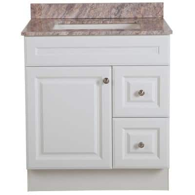 Glensford 30 in. W x 22 in. D Bathroom Vanity in White with Stone Effects Vanity Top in Cold Fusion with White Sink