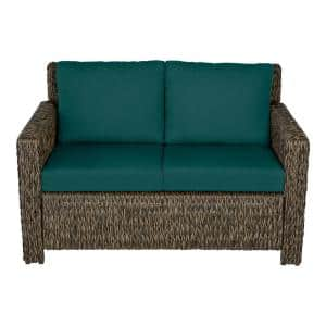 Laguna Point Brown Wicker Outdoor Patio Loveseat with CushionGuard Malachite Green Cushions