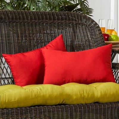 Solid Salsa Red Lumbar Outdoor Throw Pillow (2-Pack)