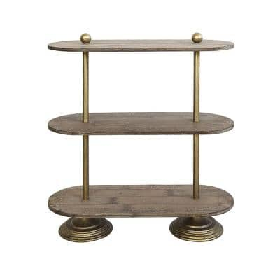 Collected Notions 31.75 in. Brown Oval Metal/Wood 3-Tier Shelf