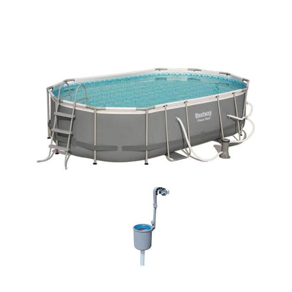 Bestway Bestway Power Steel 16 X 10 Ft Above Ground Pool Set With With Surface Skimmer 56655e Bw 58233e Bw The Home Depot