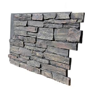 Ledge Stone 48 in. x 24.25 in. Polyurethane Interlocking Siding Panel in Volcanic Ash