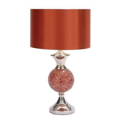 25 in. Red and Silver Table Lamps with Crackled Glass Sphere Accents (Set of 2)