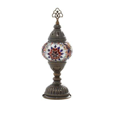 12.15 in. Black Glass Bohemian Accent Lamp
