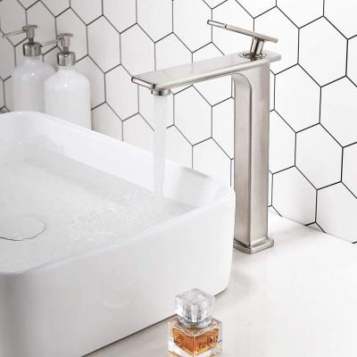 11.75 in. Single Hole Single-Handle Lever Vessel Bathroom Faucet in Brushed Nickel