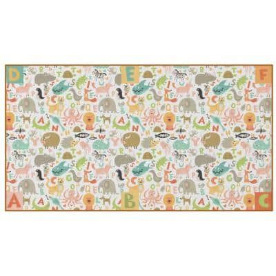 """Multicolored Social Distancing Colorful Kids Classroom Seating Area Rug, ABC Animal Design, 8' x 180"""" Extra Large"""