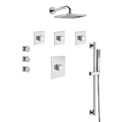 Quadro 3-Spray Wall Bar Shower Kit with Rain Shower Head and Body Jets in Chrome
