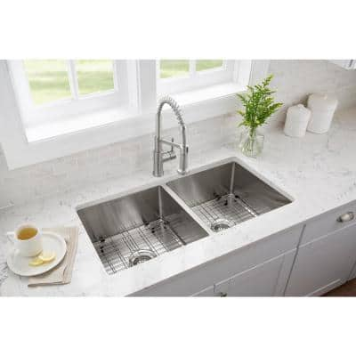 All-in-One Brushed Stainless Steel 36 in. 18-Gauge Tight Radius Double Bowl Undermount Kitchen Sink with Faucet