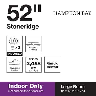 Stoneridge 52 in. Indoor LED Matte Black Hugger Ceiling Fan with Light Kit and 5 QuickInstall Reversible Blades