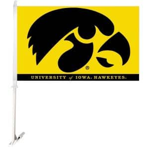 NCAA 11 in. x 18 in. Iowa 2-Sided Car Flag with 1-1/2 ft. Plastic Flagpole (Set of 2)