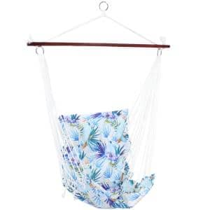 4 ft. Hanging Hammock Chair Swing with Bar and Padded Back